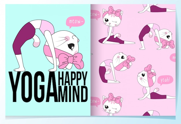Hand drawn cute cat with yoga poses pattern set