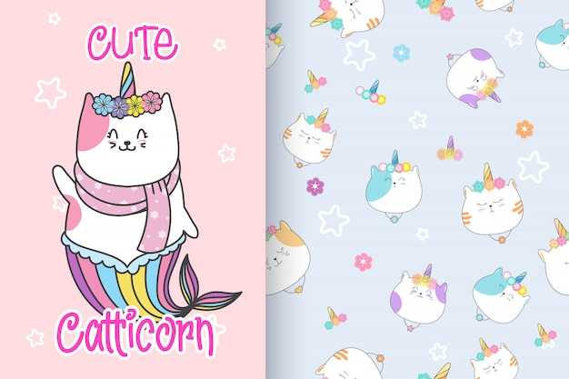 Hand drawn cute caticorn with pattern set-vector