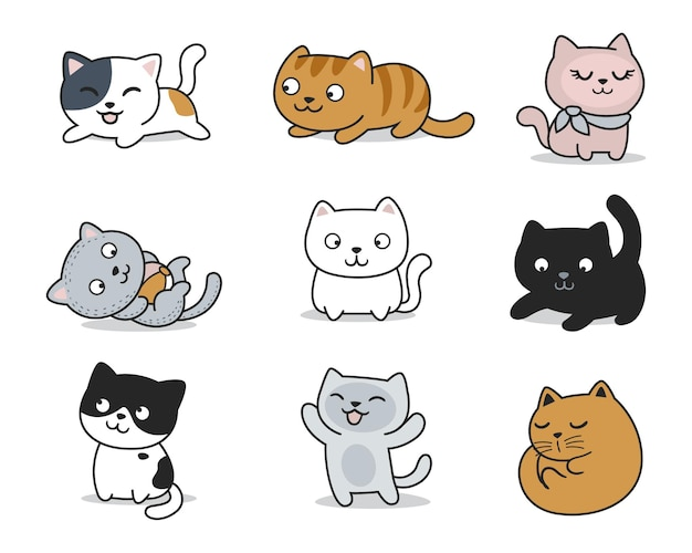 Hand drawn cute cats pose