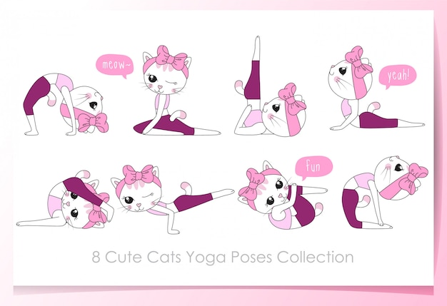 Hand drawn cute cats with yoga poses set
