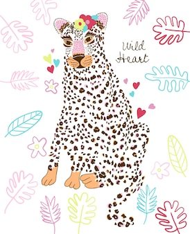 Hand drawn cute cheetah vector design for t shirt printing