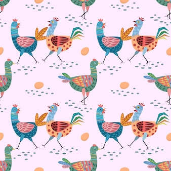 Hand drawn cute chicken seamless pattern.