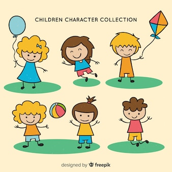 Hand drawn cute children character collection