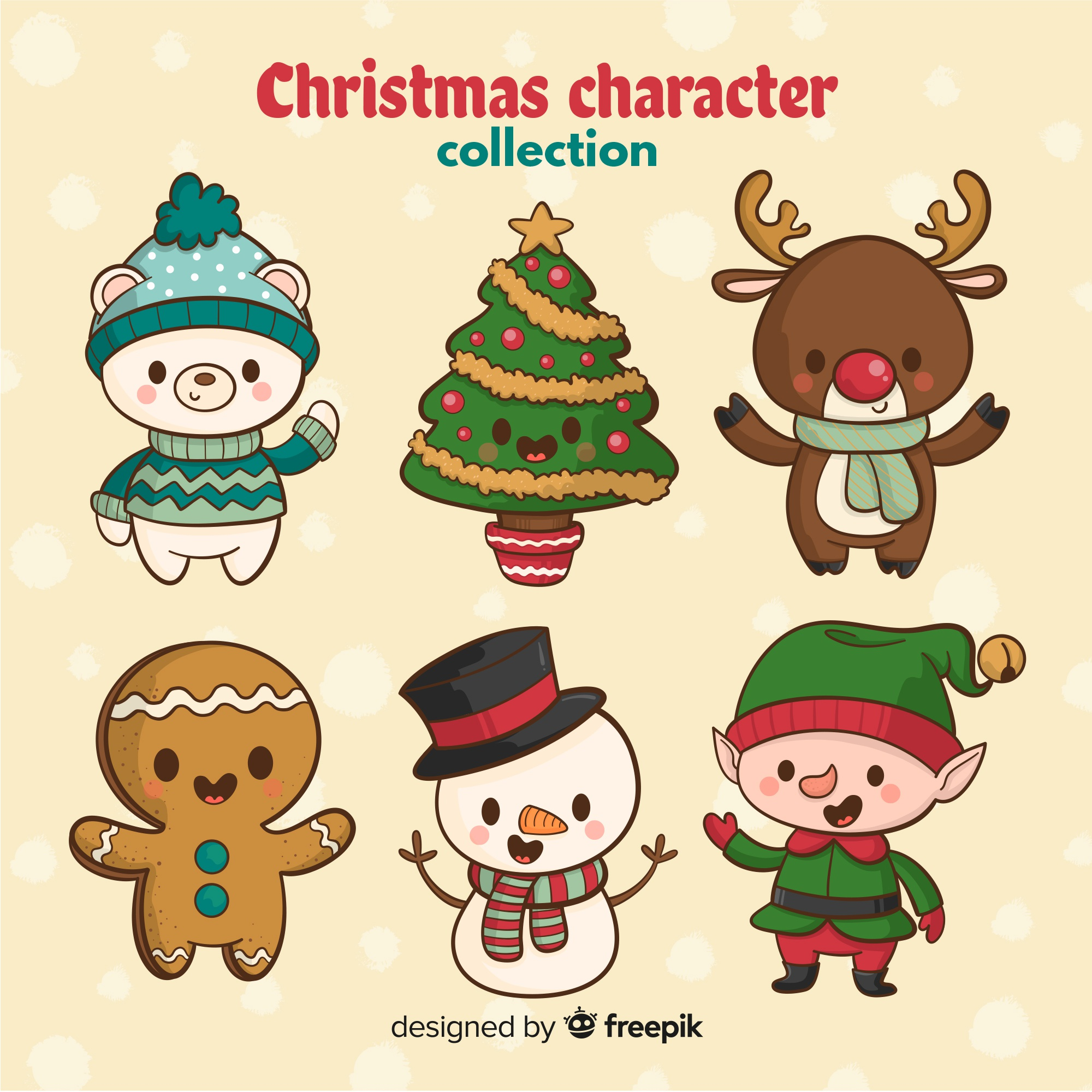 hand drawn cute christmas character