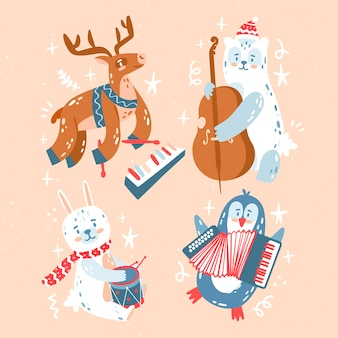Hand drawn cute christmas collection
