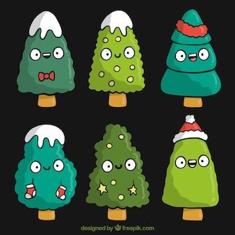 Hand drawn cute christmas tree characters