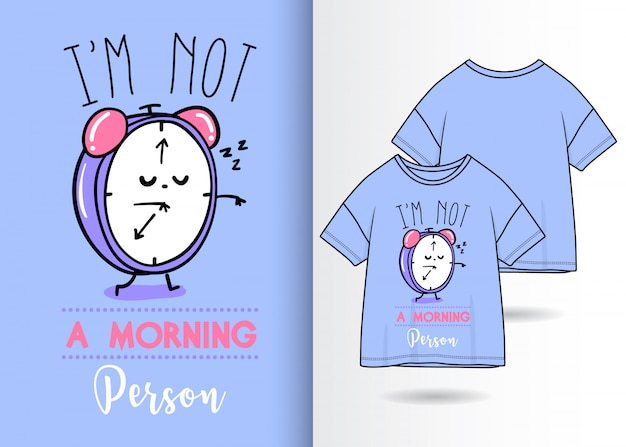 Hand drawn cute clock illustration with t shirt design