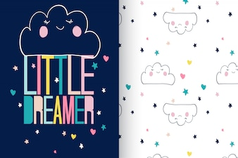 Hand drawn cute cloud with pattern vector set
