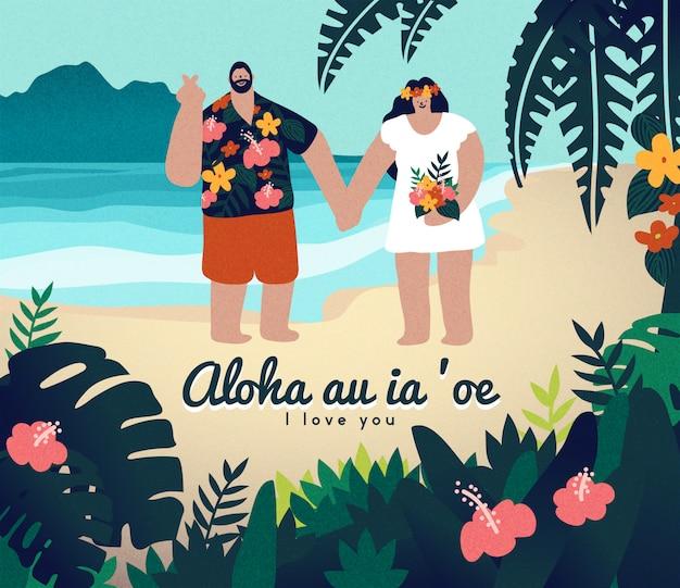 Hand drawn cute couple beach wedding in hawaii