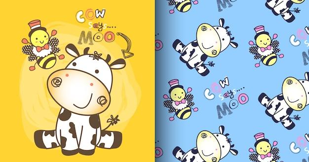 Hand drawn cute cow pattern set