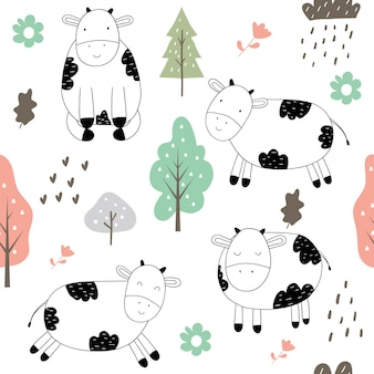 Hand drawn cute cow seamless pattern