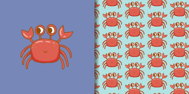 Hand drawn cute crab with seamless pattern