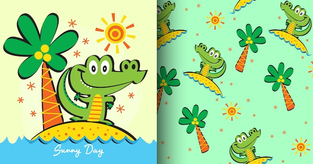 Hand drawn cute crocodile pattern