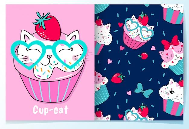 Hand drawn cute cup cake pattern set