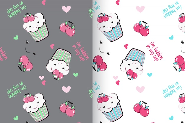 Hand drawn cute cup cake pattern vector set