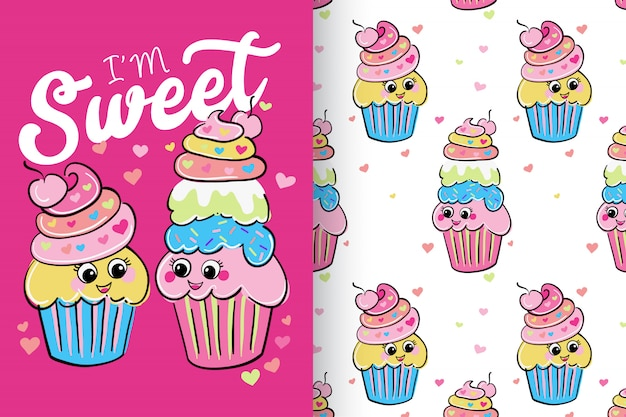 Hand drawn cute cup cakes with pattern set