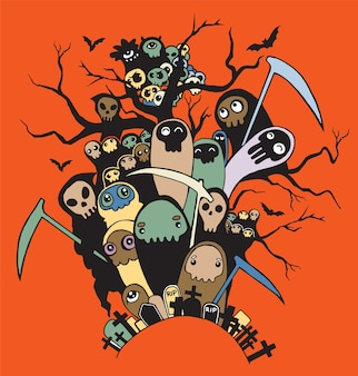 Hand drawn cute death skeleton characters