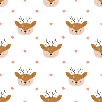 Hand drawn of cute deer with seamless pattern