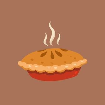 Ручной обращается милый вкусный пирог. плоская иллюстрация