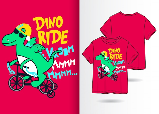 手描きのかわいい恐竜イラスト、tシャツデザイン