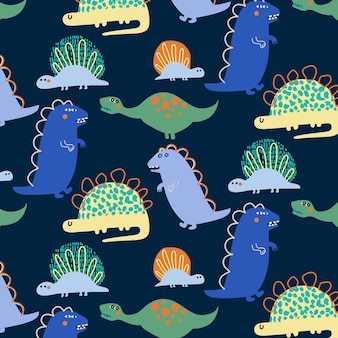 Hand drawn cute dinosaur pattern background