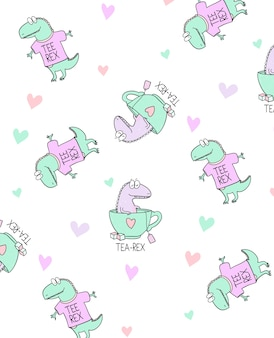 Hand drawn cute dinosaur pattern design