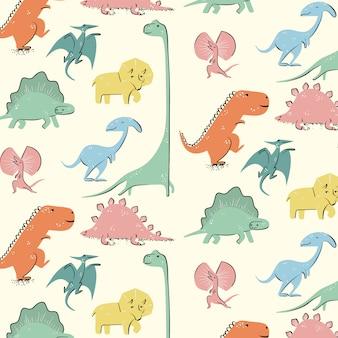 Hand drawn cute dinosaur pattern vector