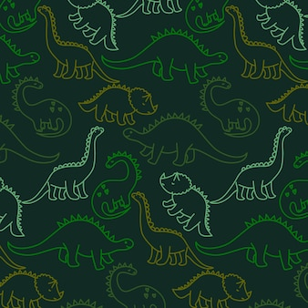Hand drawn cute dinosaur pattern vector