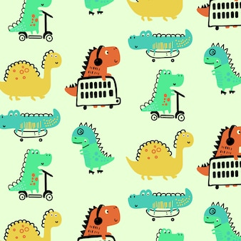 Hand drawn cute dinosaur pattern