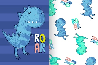 Hand drawn cute dinosaur with pattern set
