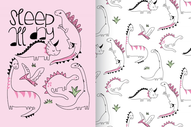 Hand drawn cute dinosaur with pattern vector set