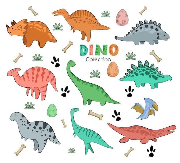 Hand drawn cute dinosaurs set in cartoon
