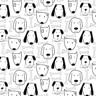Hand drawn cute dog and bone pattern.