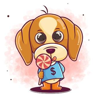 Hand drawn cute dog cartoon eat candy