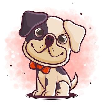 Рисованный милый мультфильм собака сидит
