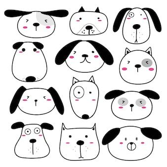 Рисованные симпатичные персонажи персонажей собаки.