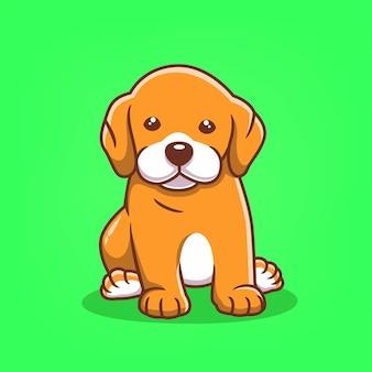 손으로 그린 귀여운 강아지 아이콘 만화 벡터 일러스트 레이 션