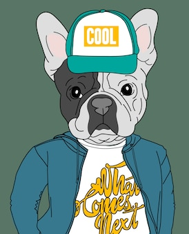 Hand drawn cute dog vector design for t shirt printing