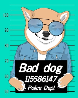 Hand drawn cute dog with sunglasses illustration