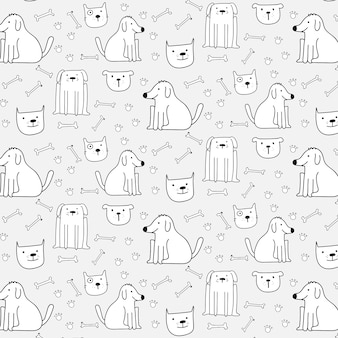 Рисованные милые собаки шаблон фон. векторные иллюстрации.