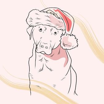라인 아트 스타일로 크리스마스 모자를 쓰고 손으로 그린 귀여운 개