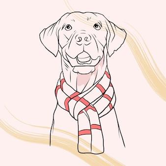 라인 아트 스타일 b에서 크리스마스 모자를 쓰고 손으로 그린 귀여운 강아지