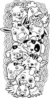 Hand drawn of cute doodle farm animals