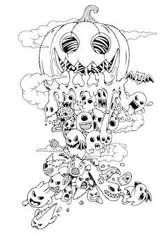 Hand drawn of cute doodle monster halloween cartoon.