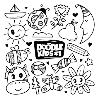 Hand drawn cute doodle set