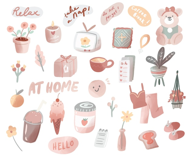 Hand drawn cute doodle staying at home illustration vector elements