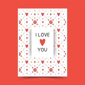 Ручной обращается милый каракули шаблон плаката дня святого валентина