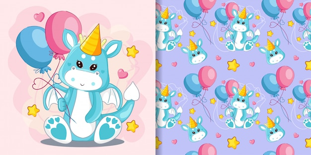 Hand drawn cute dragon and balloons with pattern set