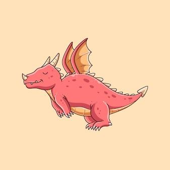 Hand drawn cute dragon design illustration