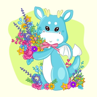 Hand drawn cute dragon and flowers